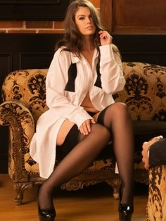 Curvy Tuxedo Nightshirt with Bow Tie, White Weekly Outfits, Curvy Outfits, Plus Size Outfits, Plus Size Fashion Tips, Fashion Tips For Women, Plus Size Boudoir, Boudoir Pics, Petite Models, Hips And Curves