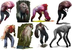 This is how many design changes the Charger (Left 4 Dead 2) had to go through before being finalised. I like how shapes, proportions and weight were taken to account in each design and I could learn something from this.  (((left 4 dead infected concept art - Google Search)))