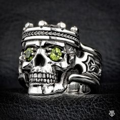 """NightRider Jewelry """"Guardian"""" Skull Ring in Sterling Silver 