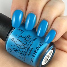 "OPI's ""Fearlessly Alice"" gel nail polish/shellac from its ""Alice through the Looking Glass"" 2016 collection. A pretty, bold, peacock-blue!"