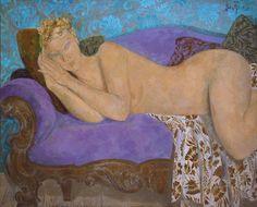 "Spanish painter Alfredo Roldan, Madrid, 1965. ""Recostada sobre el viejo diván"" oil on canvas, 81 x 100 cm. www.alfredoroldan.com"