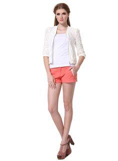 $21.99  White Lace Zip Bomber Jacket#group buying#whatabeautifullife.com