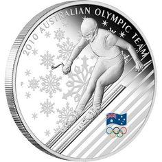 2010 Australian Olympic Winter Team 1oz Silver Proof Coin  coin , perth mint coins, bullion coins , silver  coins