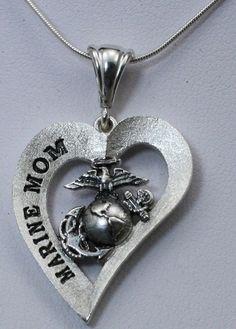 Marine Mom Heart Design Necklace