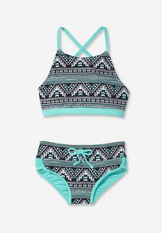 Pinto Print High Neck Bikini Swimsuit (original price, $29.90) available at #Justice