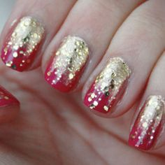 Learn This Dazzling Fuchsia and Fade-to-Gold Manicure #Hair-Beauty