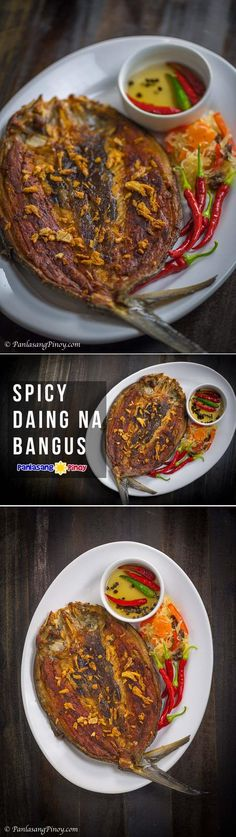Spicy Daing na Bangus (Spicy Fried Marinated Milkfish) is perfect to eat for breakfast. I usually have it with sinangag na kanin and a spicy vinegar dip. A piece of sunny-side-up fried egg is nice to have with the meal.