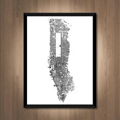 buildings of manhattan map art printable new york map print