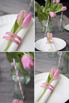 ribbon around a tulip & white napkin,  extra flowers in a mason jar, pink striped straws = simple and understated table