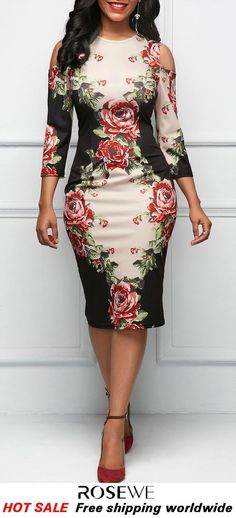 Three Quarter Sleeve Cold Shoulder Flower Print Dress My style minus the shoulder cut outs Fall Dresses, Pretty Dresses, Beautiful Dresses, Elegant Dresses, Sexy Dresses, Summer Dresses, Formal Dresses, Wedding Dresses, Summer Outfits
