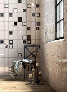 Vintage Black + White + Geometric Black 6-PC Decor Set 5x5 #collage Bathtub Surround, Tile Projects, Porcelain Tile, Floor Mats, Wall Tiles, Vintage Black, Black White, Collage, Flooring