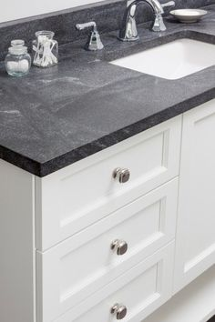 Honed Granite Countertops by Design Manifest- soapstone look without the hassle . Honed Granite Countertops by Design Manifest- soapstone look without the hassle . Cost Of Granite Countertops, Dark Counters, Granite Worktops, Leather Granite, Gray Granite, White Vanity Bathroom, Downstairs Bathroom, Master Bathroom, Modern Bathroom