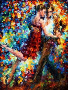 """Tango de triunfo — cuchillo de paleta par baila pared arte pintura al óleo sobre lienzo por Leonid Afremov. Tamaño: 24 """"X 30"""" pulgadas / 30 """"X 40"""" pulgadas"""