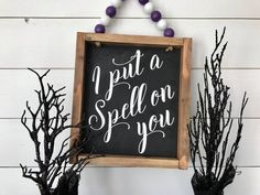 I Put a Spell on You saying. Fa : I Put a Spell on You saying. Fall Wood Signs, Halloween Wood Signs, Halloween House, Holidays Halloween, Halloween Diy, Halloween Quotes, Hocus Pocus Halloween Decor, Happy Halloween Sign, Fall Signs