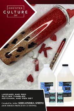 DIY Tumblers - glitter and cheetah print. Diy Tumblers, Pen Sets, Cheetah Print, Glitter, Leopard Prints, Glow