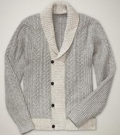 10 Rugged Sweaters to Wear All Year-- Gap Cable shawlneck sweater, $79.95
