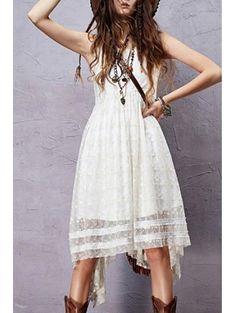 Round Neck Sleeveless Embroidered Irregular Hem Dress #womensfashion #pinterestfashion #buy #fun#fashion