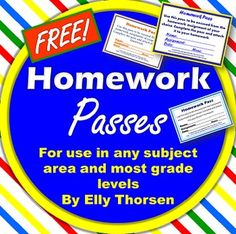 Three different FREE homework passes for most grade levels and all subject areas