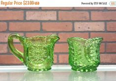 ON SALE Depression Glass Small Creamer and Sugar Set by ArtMaxAntiques on Etsy