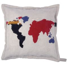 World Map Canvas Pillow