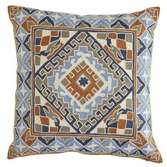 Inspired by the magnificent, highly ornamented architecture of Indian forts and palaces, our Artisanal Embroidered Medallion Pillow brings global appeal to your living room. The entire pillow is embroidered with exotic, earthen hues for a look that's truly one-of-a-kind. Just like you.