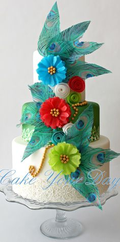 Peacock Feathers and Flowers Cake