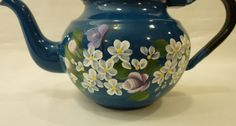Hand Painted Vintage Blue Enamel Teapot by bunnyhutchdesigns, $24.00