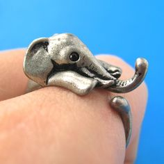 Elephant Animal Wrap Ring in Silver - Sizes 4 to 15 Available | DOTOLY So cute size 4 1/2 for me please