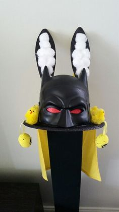 Batman easter hat. My son wanted batman and we come up with our own creation.