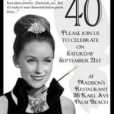 Breakfast at Tiffanys Invitation. Audrey Hepburn movie spoof invitation. Become Audrey Hepburn for your 40th birthday or any milestone birthday