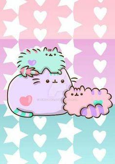 Pastel pusheen and friends :D Chat Pusheen, Pusheen Love, Kawaii Wallpaper, Cat Wallpaper, Cute Animal Drawings, Cute Drawings, Crazy Cat Lady, Crazy Cats, Pusheen Stormy