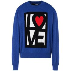 Love Moschino Long Sleeve Jumper ($110) ❤ liked on Polyvore featuring tops, sweaters, shirts, blue, outerwear, shirt sweater, lightweight long sleeve shirt, blue sweater, logo shirts and long sleeve jumper