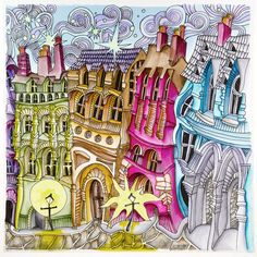 """Stockholm,  From Lizzie Mary Cullen book """"Magical City"""". Colored by Me (Roger Malinowski) using Tombow Brush Markers"""