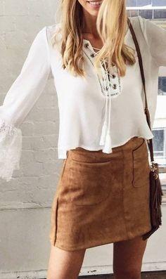 #prefall #muraboutique #outfitideas | White Boho Top + Camel Suede Skirt