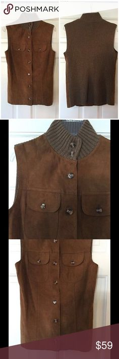 """Melbourne suede vest Heather Squirrel This suede vest is your must have for fall! The fabulous leather front vest has a merino wool rib knit back and collar. Underarm across 15"""". Length 22"""". Brand new with tag. J. McLaughlin Jackets & Coats Vests"""