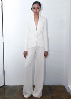 Pamella Roland modern bridal pant suit with deep v-neck from Spring 2016
