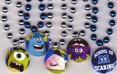 Monsters University Monsters Inc Birthday Party Favor Necklaces- Set of Pick Same or Mix Images via Etsy 3rd Birthday Parties, Birthday Party Favors, Birthday Decorations, Boy Birthday, Birthday Ideas, Monster Inc Birthday, Monster Inc Party, Monster University Party, Mike And Sully