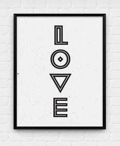 Geometric Love  Printable Poster  Digital by BlackAndWhitePosters, $5.00