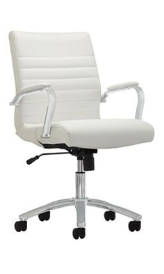 Realspace Modern Comfort Series Winsley Mid Back Bonded Leather Chair White by Office Depot & OfficeMax