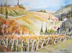Weinberge - Aquarell  © by Maria Földy