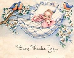bluebirds on vintage cards   ... baby and bluebirds vintage announcement card 101 jpg 3f1265778986