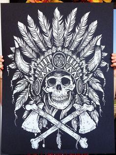 Tribal Headdress - Screen printed Poster. $15,00, via Etsy.