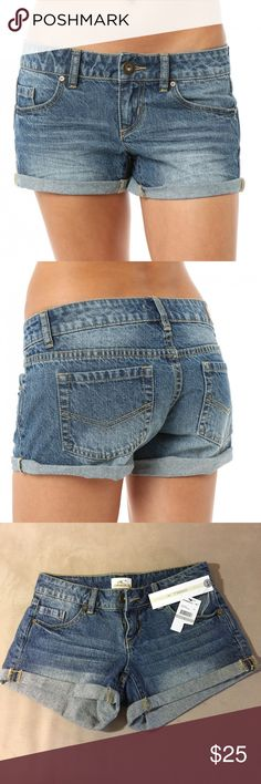 O'Neill Beach Cruiser Jean Shorts Denim shorts with 5 pocket styling. Belt loops and zip front closure. Cuffed . Whisker wash and intentional fading. 100% cotton. Brand new with tags attached. O'Neill Shorts Jean Shorts