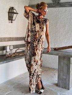 Satin Maxi Dress Kaftan / Summer Kaftan / por SynthiaCouture