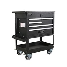 This tool cabinet unit features auto return slides for all drawers. 4 casters for easy movement around the garage or job site. Key locking system to keep your tools secure. Powder coated handles resist rust and corrosion. Tool Storage, Storage Spaces, Rolling Tool Box, Drawer Cart, Socket Organizer, Tool Cart, Soft Close Drawer Slides, Utility Services, Utility Cart