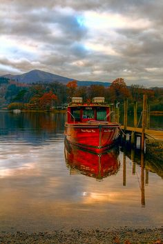 Moored boat on Derwentwater, Keswick, England.