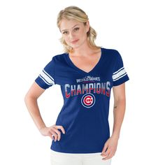 Chicago Cubs 2016 World Series Champions Sleeve Stripe V-Neck Tee  #ChicagoCubs #Cubs #WorldSeries #FlyTheW SportsWorldChicago.com