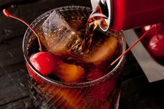 Roy Rogers - This Roy Rogers drink recipe uses maraschino cherries and grenadine mixed with cola for a classic kiddie cocktail.