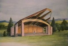 """Concept Rendering of Proposed Lander High School Band Shell""  Watercolor painting by LcBookout http://lcbookout.webs.com  http://www.facebook.com/lcbookout.art"