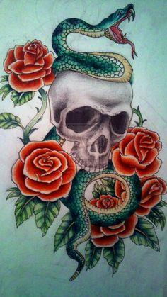 Skull and Snake Tattoo by kirstynoelledavies.deviantart.com on @deviantART